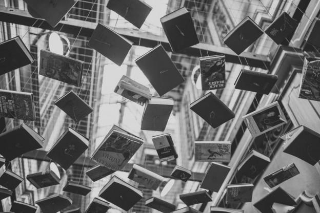 varios libros en blanco y negro